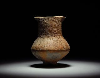 Exquisite Ancient Persian Near Eastern Incised Pottery Tripod Jug photo