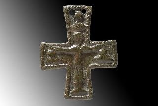 Ancient Byzantine Medieval Bronze Reliquary Cross Christian 700 A.  D. photo