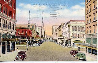 Vintage Postcard Phoenix Arizona Street Scene Stores photo