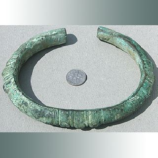 Large Ancient Ornate Bronze Bracelet Nigeria W Africa 10 photo