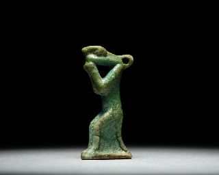 Ancient Egyptian Faience Nehebkau Amulet photo