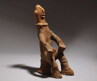 Bankoni Seated Pottery Figure - Mali Tribal Art photo