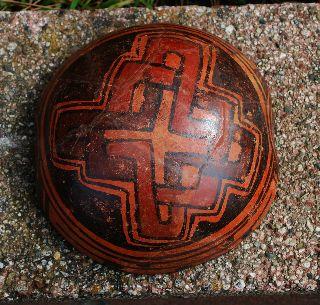 Ancient Pre - Columbian Polychrome Nicoya - Guanacaste Galo Bowl,  Costa Rica 6 3/8