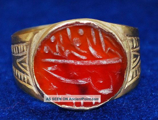Islamic Medievale Gold Ring With Camea 19mm/5.  16g / 140 / Near Eastern photo