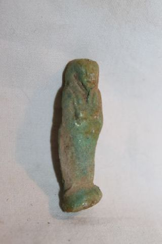 Ancient Egyptian Faience Ushabti Late Dynastic 4th Century Bc photo