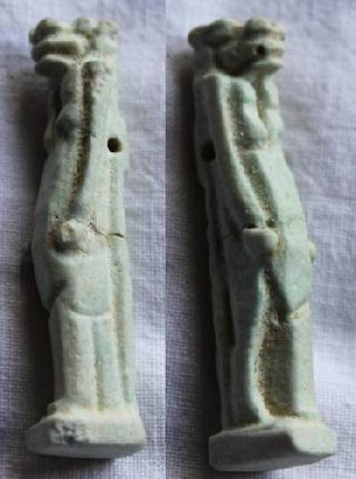 Large Ancient Egyptian Faience Amulet Taurt 26th Dyn photo