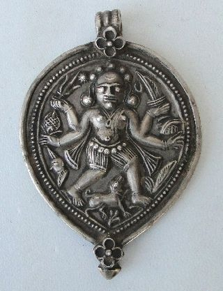 Tribal Gipsy Silver Bheru ' Shiva ' Amulet Pendant Necklace Rajasthan India photo
