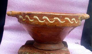 19th Century Dutch Ceramic Slibware Large Vessel. photo