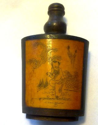 Rare Handmade Bone And Wood Bottle Chinese Or Japanese Motive.  High 80mm photo