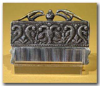 Artemission:mughal Silver And Gilt Comb/perfume Flask photo