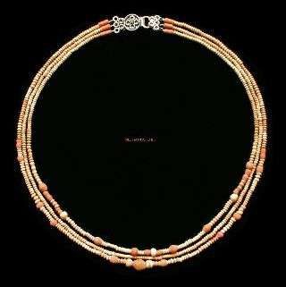 Ancient Egyptian Coptic Faience Bead Necklace Three Strand 1 - 3 Ad Jewellery C70t photo