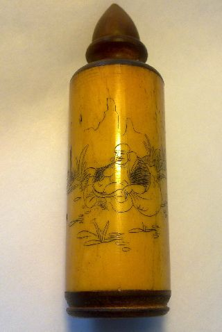 Stunning Handmade Bone And Wood Bottle Chinese Or Japanese Motive.  High 95mm photo