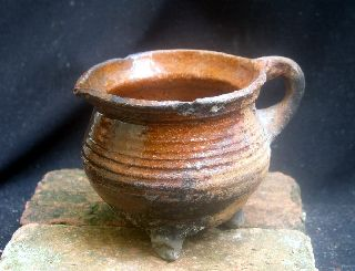 Early Early 17th Century Dutch Ceramic Cooking Pot,  Cauldron photo
