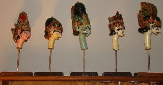 Antique Rare 19th Century Set Of 5 Hand Carved Gilded Marionet Heads Gallery Mtd photo