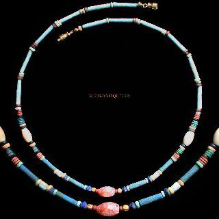 Ancient Egyptian Mummy Bead Faience Carnelian Gold Necklace 1000 Bc Jewellery 29 photo