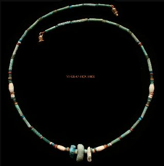 Ancient Egyptian Green Faience Amulet Bead Agate Necklace 1000 Bc Jewellery E33 photo