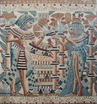 Egyptian Mosaic Tile Stone Art Wall Mural photo