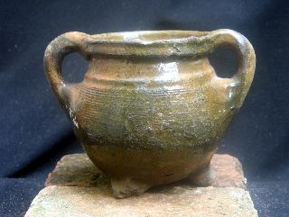 Early 15th Century Dutch Ceramic Cooking Pot,  Cauldron photo