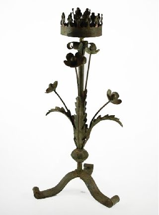 Antique Spanish Colonial Painted Iron Tin Candlestick photo