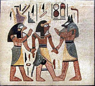 Egyptian Scene Mosaic Tile Stone Art Wall Mural photo