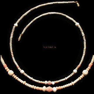 Ancient Coptic Faience Bead Necklace Warm Pastels 1 - 3 Ad Jewellery C72f photo