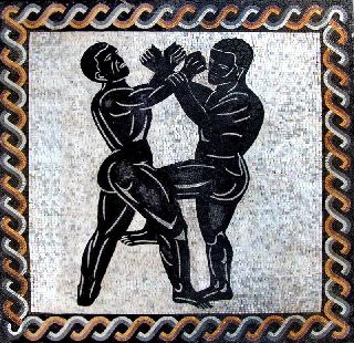 Men Fight Mosaic Tiles Stones Art Wall Mural photo