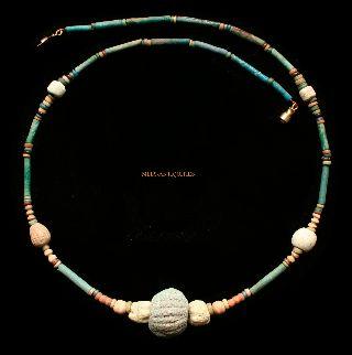 Ancient Egyptian Melon Bead Faience Necklace 600 Bc - 300 Ad Jewellery E34 photo