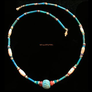 Ancient Egyptian Mummy Bead Blue Faience Agate Necklace 1000 Bc Jewellery E30 photo