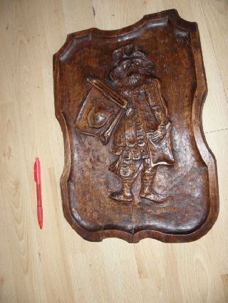 Vintage Wall Panel Carving Wood Medieval Black Forest photo