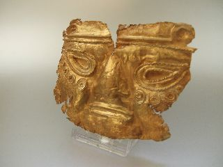 Pre Colombian Laminated Gold Copper Burial Funerary Mask 150 - 900 A.  D. photo
