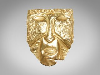 Pre Colombian Laminated Gold Copper Burial Funerary Mask 150 - 900 A.  D.  (1) photo