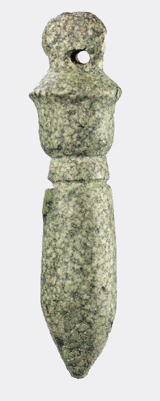 Egyptian Hard - Stone Papyrus Column Amulet photo