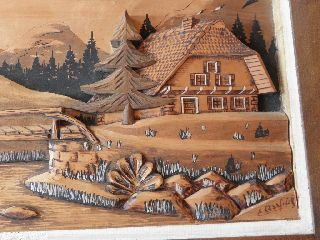 Panel Wall Carving Wood House Mountain Wooden Black Forest Slides Snow Vintage photo