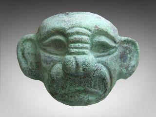 Pre Columbian Moche Copper Burial Funerary Mask photo