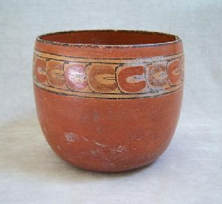 Pre - Columbian Mayan Polychrome Pottery Bowl - 600 Ad photo