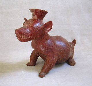 Large Pre - Columbian Colima Terracotta Seated Dog Vessel,  Circa 300 B.  C. photo