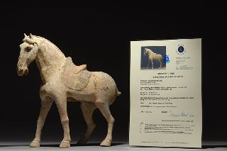 Ancient Chinese Tang Dynasty Pottery Terracotta Walking Horse Statue Sculpture photo