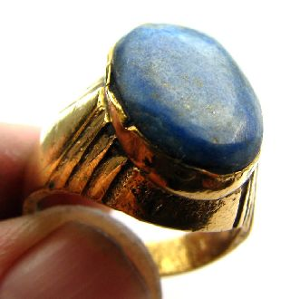 Medieval Gold Gilt Signet Ring With Stunning Lapis Lazuli Setting - 17th Century photo