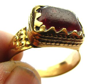 Conserved Medieval Gold Gilt Ring Clasped Purple Setting Circa: 17th Century photo