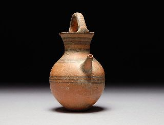 Ancient Cypriot Middle Iron Age Spouted Feeder Black On Red Flask photo
