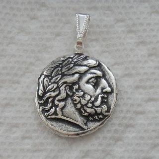 Zeus,  King Of The Gods,  Minted By Philip Ii,  Antique Silver Plated Coin Pendant photo