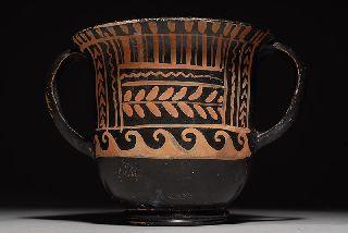 Ancient Greek Pottery Vase Xenon St.  Valentin Kantharos photo