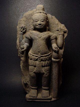 Rare Khmer Mythology Sandstone Relief Four - Arm Vishnu Figure,  Angkor Wat 12th C. photo