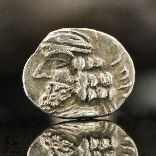 Ancient Silver Coin Rare Early Indo Parthian Kingdom Small Obol Drachma 0.  586 G photo