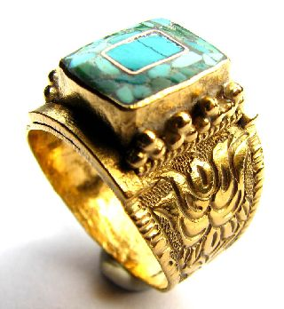 Very Fine Post Medieval Moorish Gold Gilt Finger Ring With Turquiose Mosaic photo
