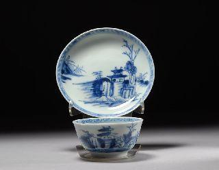 Authentic Antique Nanking Cargo Shipwreck Porcelain China Tea Bowl & Saucer Set photo