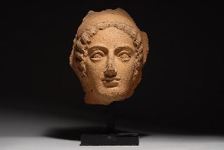 Exceptional Ancient Etruscan Pottery Head Of Female photo