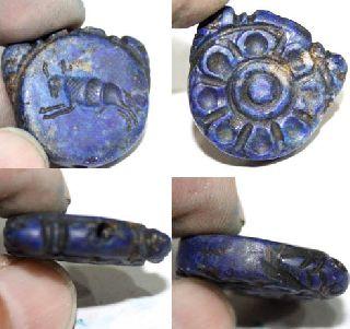 Roman Era Lapis Lazuli Carved Circular Pendant Circa: 2nd - 4th Century Ad photo