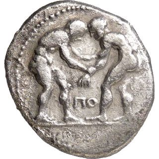 Scarce Two Wrestlers Ancient Greek Coin Pamphylia Aspendos Silver Stater Horse photo