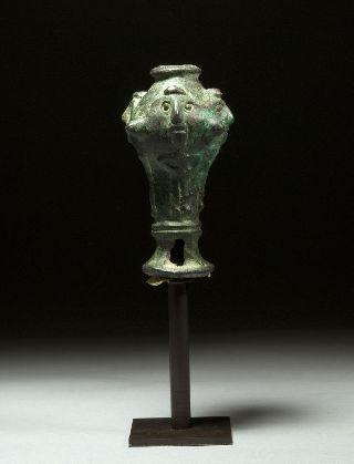 Ancient Near Eastern Bronze Figural Mace Head photo